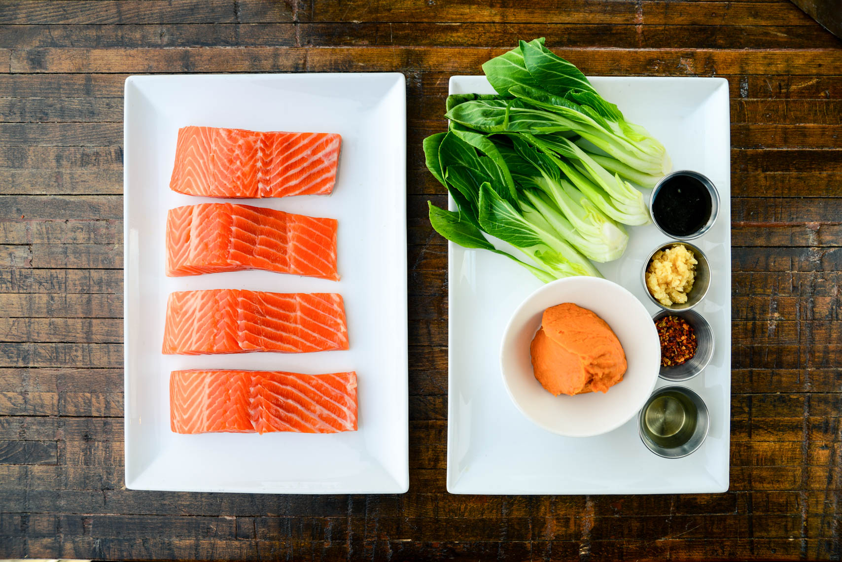 Prep Ingredients Mise en Place Salmon Portions and Bok Choy with Miso