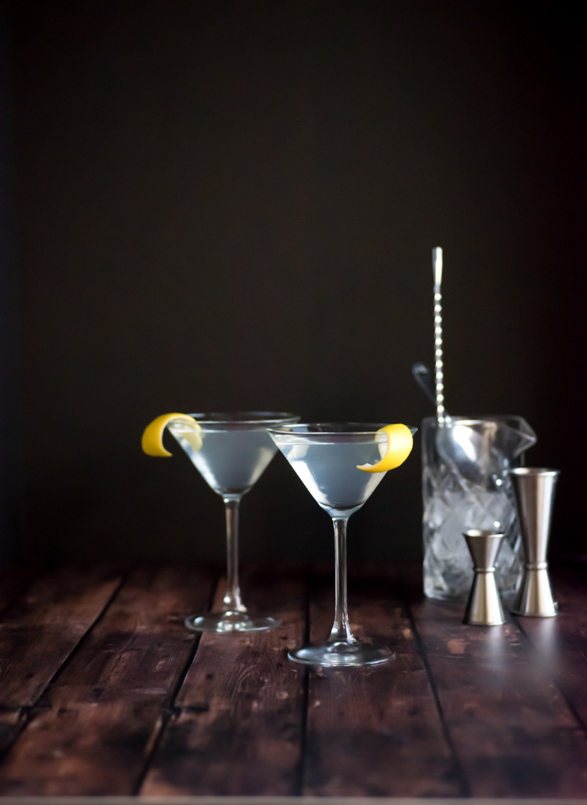 Gin Cocktail Photography Still Life of Two Lemon Martini with Crystal Mixer