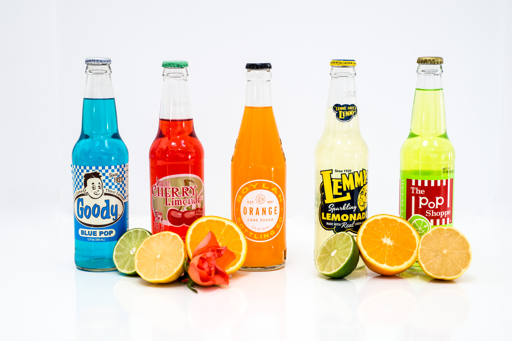 Soda Drink Product with Colorful Bottles