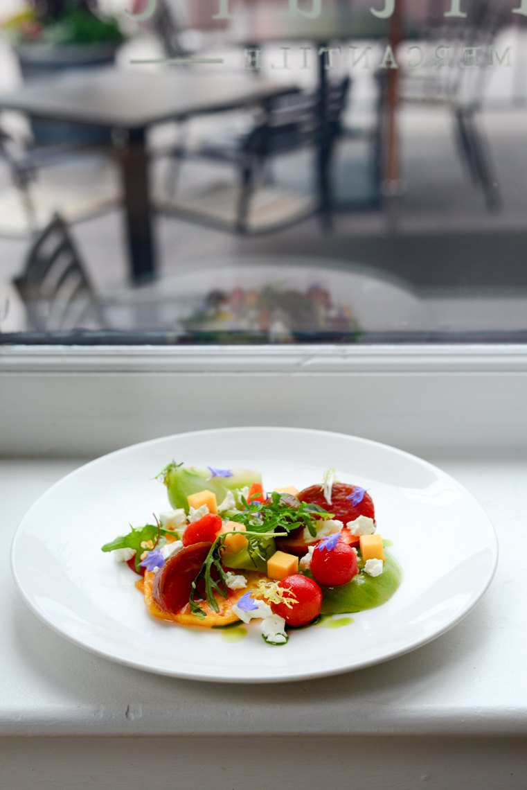 Tomato and Melon and Cheese Salad in the Windowsill of Denver Mercantile Restaurant